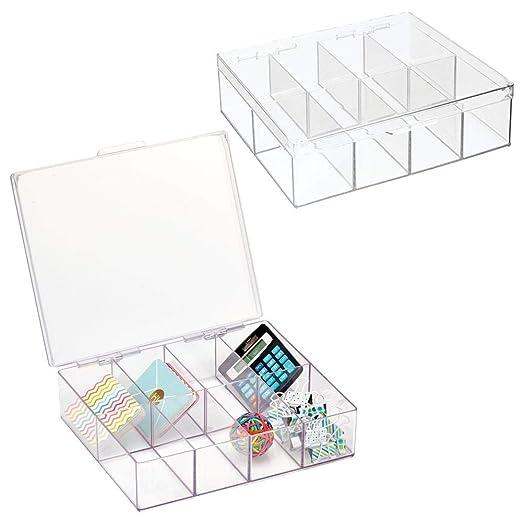 mDesign Juego de 2 Cajas de almacenaje para Material de Oficina ...