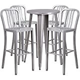 Flash Furniture 24'' Round Silver Metal Indoor-Outdoor Bar Table Set with 4 Vertical Slat Back Stools