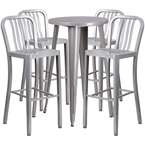 Flash Furniture 24'' Round Silver Metal Indoor-Outdoor Bar Table Set with 4 Vertical Slat Back Stools by Flash Furniture