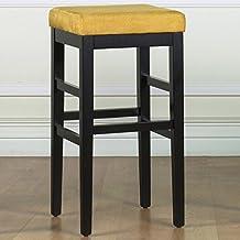 Armen Living Sonata 26-Inch Stationary Barstool/Yellow Micro Fiber with Black Legs