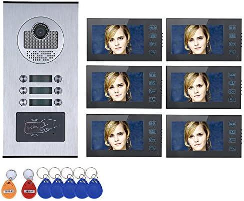 """6ボタン6モニター防水とタッチボタン7"""" 6アパート/ファミリービデオドア電話インターホンシステムRFID IR-CUT HD 1000TVLカメラドアベルカメラ"""