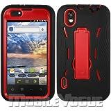 LG Marquee/Ignite/LS855 Black/Red Combo Silicone Case + Hard Cover + Kickstand Hybrid Case BoostMobile