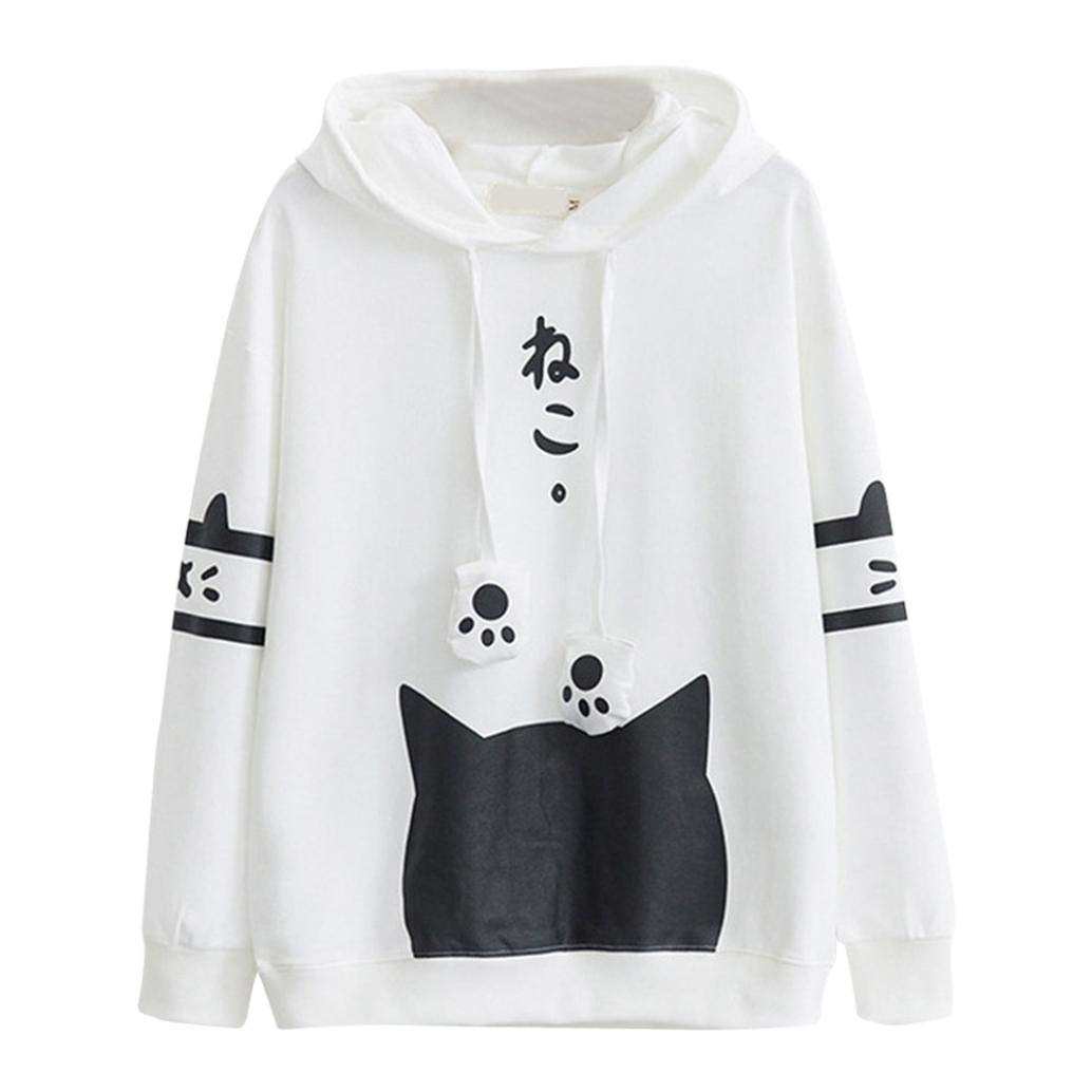 Holywin Womens Japanese Kawaii Style Kitty Cat Print Pocket Long Sleeve Thin Hoodie Tops