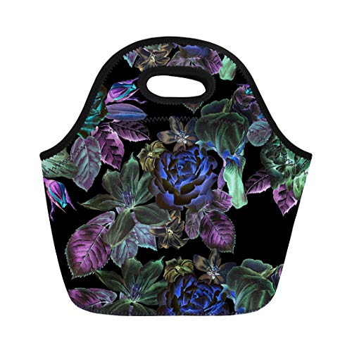 (Semtomn Neoprene Lunch Tote Bag Watercolor Spring Flowers Rose Peony Lilia Iris Clematis Hyacinth Reusable Cooler Bags Insulated Thermal Picnic Handbag for Travel,School,Outdoors,Work)