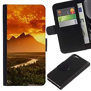 EJOY---Tirón de la caja Cartera de cuero con ranuras para tarjetas / Apple Iphone 6 / --Montañas Brillantes
