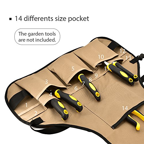 BOJECHER Tool Apron - Professional Heavy Duty Work Apron with 14 Tool Pockets and Adjustable Belt Water-resistant Gardening Woodshop Aprons for Men & Women, Carpenters Bakers and Machinists by BOJECHER (Image #3)
