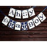 Ahoy its a Boy Banner,Nautical baby shower,nautical banner sign, Baby Shower Banner, Welcome Baby Banner, Birth announcement,Nursery Banner, Name banner, Welcome home banner
