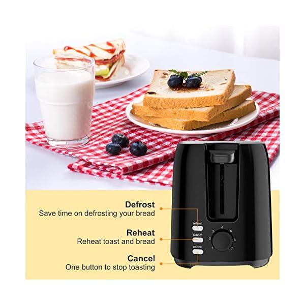 Bonsenkitchen Tostapane 2 Fette, Tostapane per Toast 7 Livelli di Tostatura Vassoio Raccoglibriciole Estraibile… 3