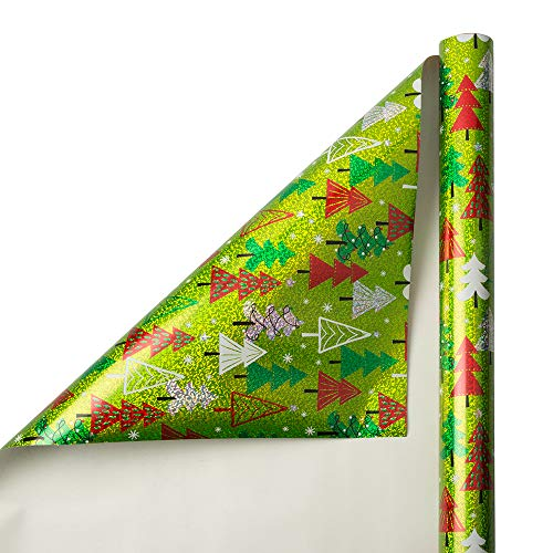 JAM PAPER Gift Wrap - Chistmas Wrapping Paper - 25 Sq Ft - Holographic Green with Trees - Roll Sold Individually