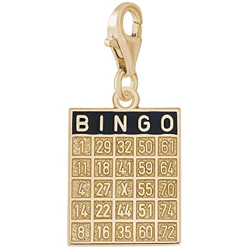 Rembrandt Bingo Card Charm with Lobster Clasp, 14K Yellow Gold