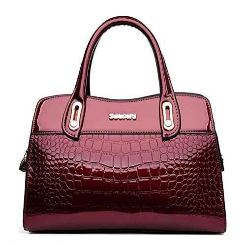 GAVERIL Tracolla Vino Mano Donna Borse a in Rosso Cerniera Borsa a rosa Spalla Sacchetto a Elegante Pelle Borse per Capacità rw4xqrRP