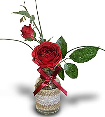 Amazon Roses In A Vase Red Roses Bouquet In A Burlap And Lace