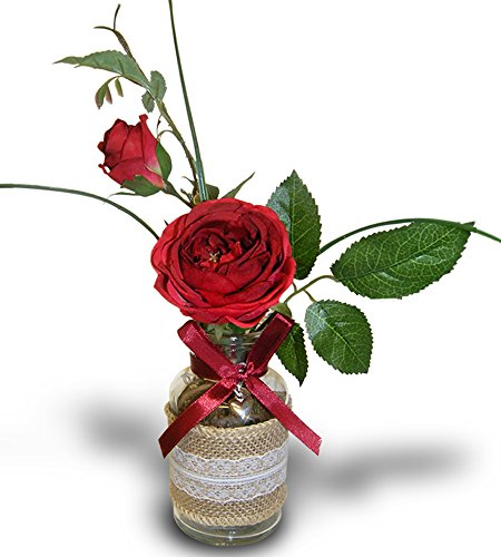 Artificial Rose Arrangement (Roses in a Vase - Red Roses Bouquet in a Burlap and Lace Decorated Glass Vase - Silk Flower Arrangement - Red Roses)