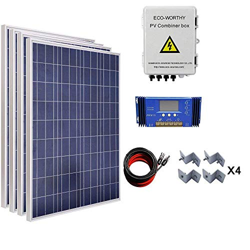 (ECO-WORTHY 400W Solar Panel System: 4pcs 100W Poly Panel + 4 Strings Solar Combiner Box + 60A Charge Controller + 16Ft Cable + Mounting Brackets)