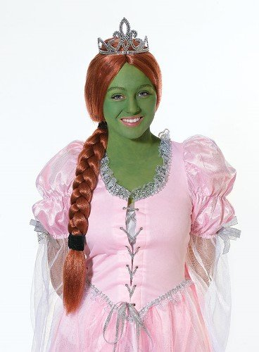Princess Fiona Shrek Female Fancy Dress Wig & Tiara (Princess Fiona Dress)