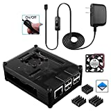 Smraza for Raspberry Pi 3 B+ Case with Fan Cooling and Heatsinks, 3A Power Supply with On/Off Switch, Case Compatible with Raspberry Pi 3 Model B+, 2B, 3B Plus(Black)