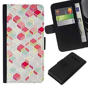 Planetar® Modelo colorido cuero carpeta tirón caso cubierta piel Holster Funda protección Para Samsung Galaxy A3 / SM-A300 ( Polygon Pattern Pink Teal 3D Lines Classy )