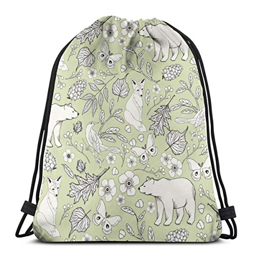 (Rustic Toile - H White, Kiwi_11134 3D Print Drawstring Backpack Rucksack Shoulder Bags Gym Bag for Adult 16.9