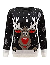 REAL LIFE FASHION LTD Kids Crew Neck Rudolph Reindeer Knit Sweater