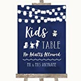 Navy Blue Watercolour Lights Kids Table Personalised Wedding Sign