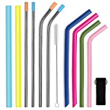Parts3A Reusable Straws, 4 Steel Straws and 4 Silicone Straws for Dishwasher Safe Environment Friendly(12 Piece)