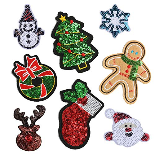 8 Pcs Sequins Santa Claus Christmas Tree Embroidery Iron On Patches Sock Patch Clothes Appliques Bag Ornaments DIY (Christmas Appliques Embroidery)