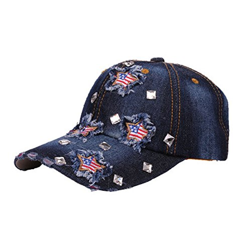Price comparison product image Patriotic American Flag Women Men Embroidered Baseball Cap Hat Rhinestone Denim Plain Unisex Adjustable Snapback Fashion Hat (Free Size,  Style A)
