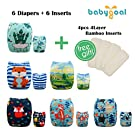 Babygoal Baby Adjustable Reuseable Positioning Pocket Cloth Diaper Nappy 6pcs+ 6 Inserts 6FB19D