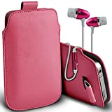 ( Baby Pink + Earphone ) Nokia Lumia 520 Case Faux Leather Pull Tab Pouch Skin Case Cover With Quality in Ear Buds Stereo Hands Free Earphone by ONX3®