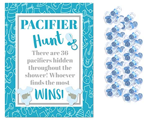 Blue Plastic Pacifiers for Baby Shower Pacifier Hunt Boy Baby Shower Game