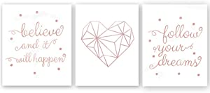 Inspirational Lettering Quote with Polka Dot Rose Gold Foil Print,Modern Nordic Geometric Love Heart Cardstock Art Print Painting Minimalist Poster Home Decor (Set of Three,8x10 inch)