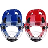 SM SunniMix 2 Set Boxing Headgear - MMA Muay Thai Sparring Taekwondo Workout Head Guard & Face Mask - Red + Blue