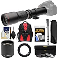 Vivitar 500mm f/8.0 Telephoto Lens with 2x Teleconverter (=1000mm) + Monopod + Backpack + 3 Filters Kit for SLT-A57, A58, A65, A77, A99 DSLR Cameras