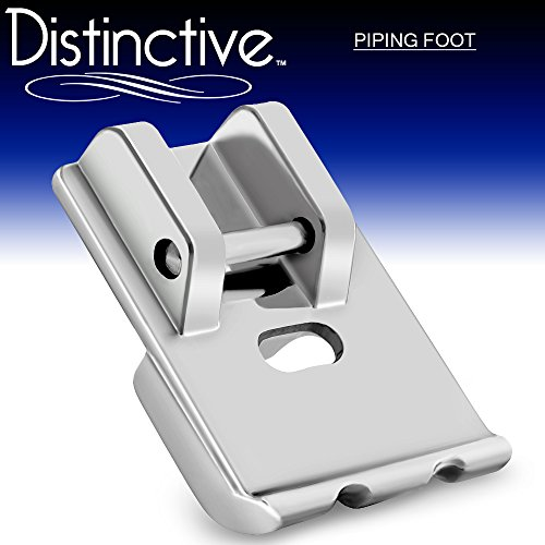 Distinctive Piping Sewing Machine Presser Foot - Fits All Low Shank Snap-On Singer, Brother, Babylock, Euro-Pro, Janome, Kenmore, White, Juki, New Home, Simplicity, Elna and More! White Double Piping