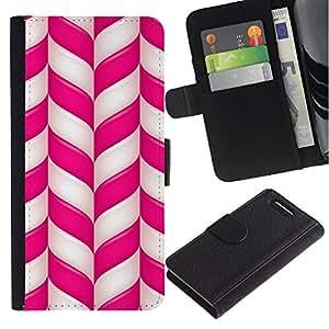 A-type (Cane Pink White Lines Stripes Xmas) Colorida Impresión Funda Cuero Monedero Caja Bolsa Cubierta Caja Piel Card Slots Para Sony Xperia Z3 Compact / Z3 Mini (Not Z3)