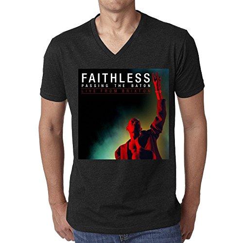 Faithless T-shirts - Faithless Passing The Baton Live From Brixton T Shirt Men V Neck Black