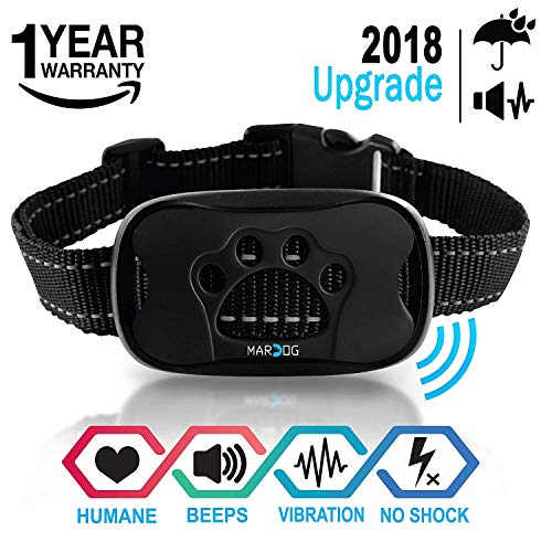 MARDOG No Bark Collar for Small, Medium, Large Dogs – Upgrade 2018 – Stop Barking Collar with Vibration and Sound – Humane and Safe for Dogs and 100% Waterproof Design