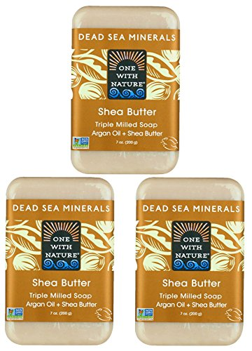 DEAD SEA Shea Butter SOAP 3 PK, Dead Sea Salt Includes Sulfur, Magnesium, etc. Argan Oil. All Skin Types, Problem Skin. Acne, Eczema, Psoriasis, Natural, Therapeutic, Natural Vanilla Scent