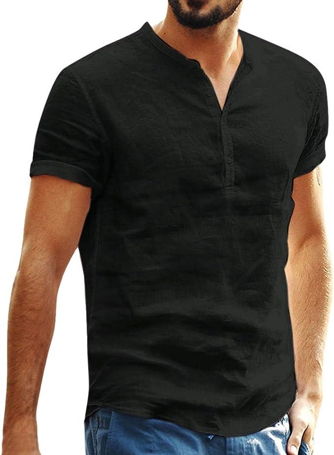 Mens T Shirt Baggy Cotton Linen Button SOID Front Pocket Short Sleeve Retro T Shirts Tops Blouse
