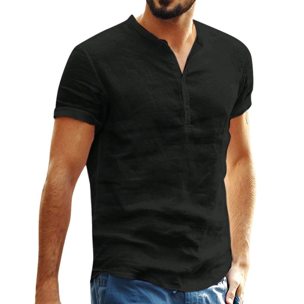 Aberimy Camisetas Hombre Manga Corta Verano Algod/ón Lino Camiseta T-Shirt Camisa Casual Tirantes Fitness Deportiva Camisetas Deporte Sudadera Camisa T-Shirt Camisetas para Hombre 2019 Moda