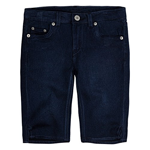 Levi's Girls' Little Super Soft Denim Bermuda Shorts, Dark Indigo, 4