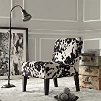 Home Black and White Faux Cow Hide Fabric Accent Chair Espresso finished