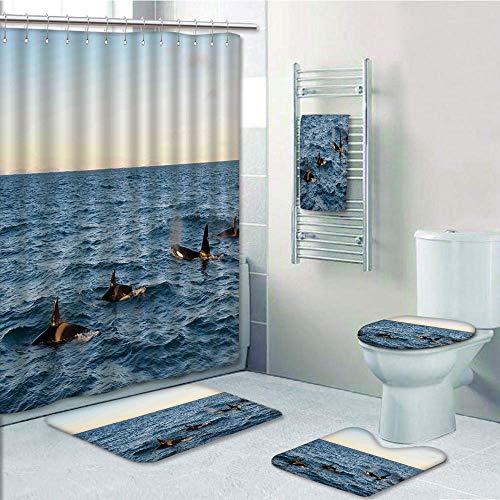 iPrint Bathroom 5 Piece Set Shower Curtain 3D Print,Whale Decor,A Real Photo Image of Four Killer Whales Coming Out of The Sea Artwork,Blue and Black,Bath Mat,Bathroom Carpet Rug,Non-Slip,Bath Towls ()