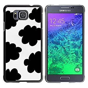 TopCaseStore / la caja del caucho duro de la cubierta de protección de la piel - Spots Black White Clouds Sheep Pattern - Samsung GALAXY ALPHA G850