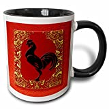 3dRose Doreen Erhardt New Year Collection - Chinese Zodiac Year of the Rooster Chinese New Year Red, Gold and Black - 11oz Two-Tone Black Mug (mug_101850_4)