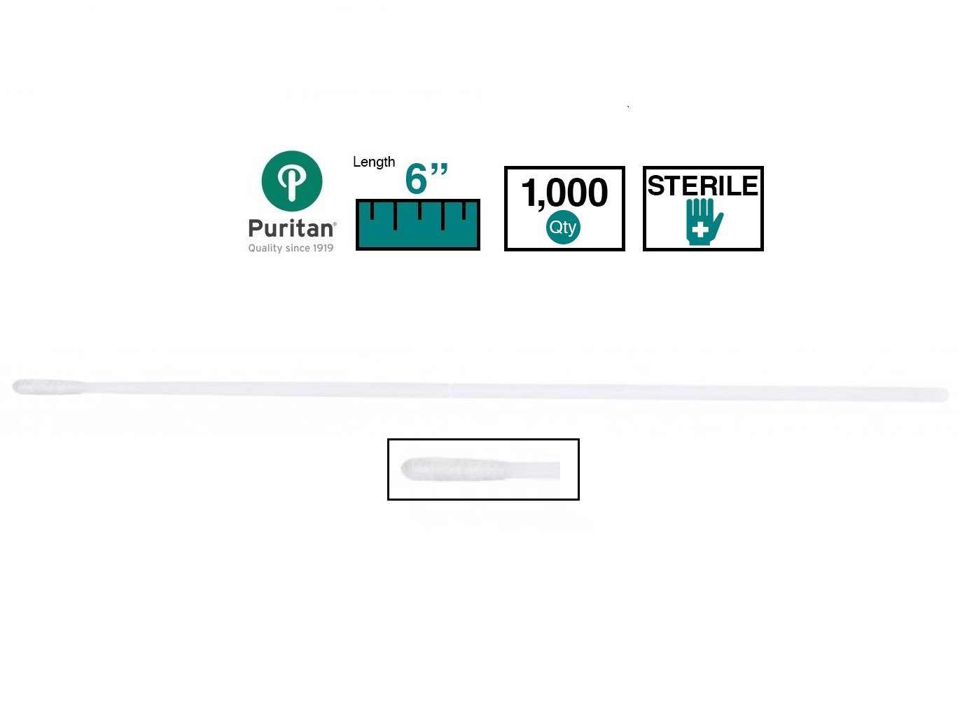 Puritan Medical 6'' Sterile Mini-tip Polyester Swab w/Plastic Tapered Handle - 25-1000 1PD - Case of 1000