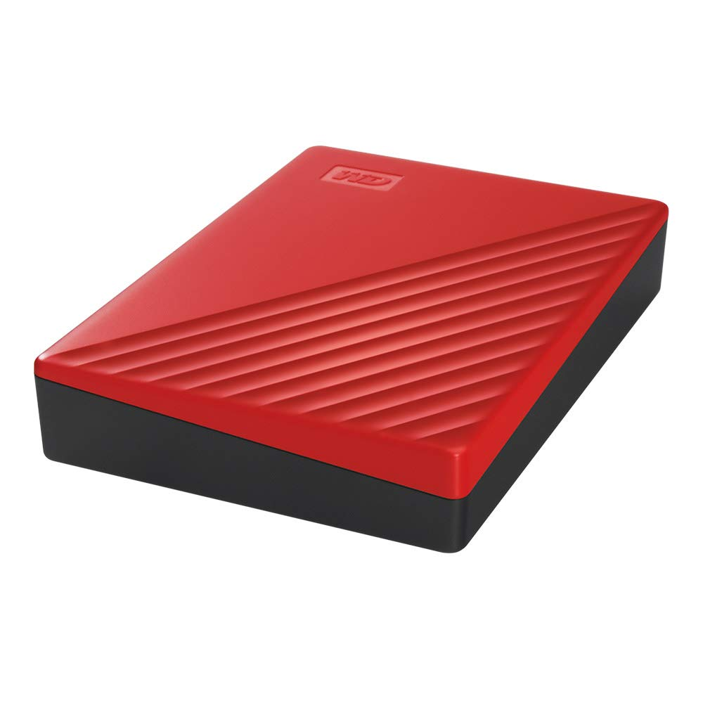 Red WD 4TB My Passport Portable Hard Drive with Password Protection and Auto Backup Software