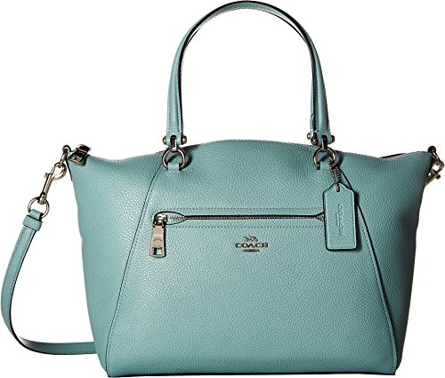 - COACH Women's Prairie Satchel in Polished Pebble Leather Sv/Light Turquoise One Size