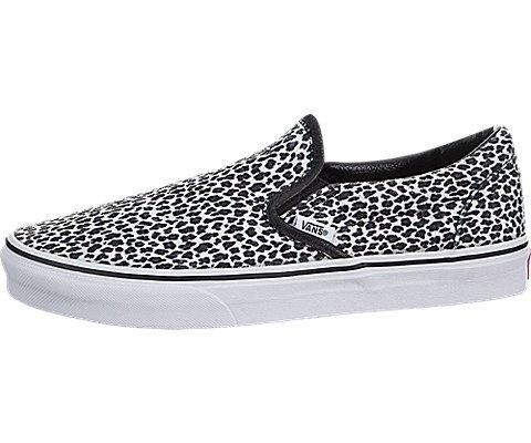 Vans Unisex Classic Slip-On (Mini Leopard) Blk/True White Skate Shoe 4.5 Men US/6 Women - Leopard Vans Print Mens