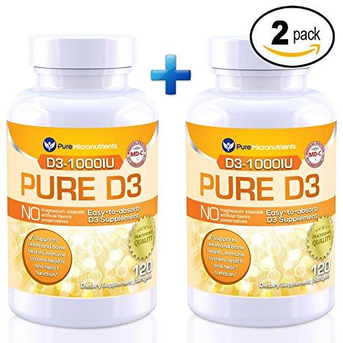 Pure Micronutrients Vitamin D Supplement 1000 IU, Natural D3 Supplements (Cholecalciferol) - Best Buy Value 2-Pack